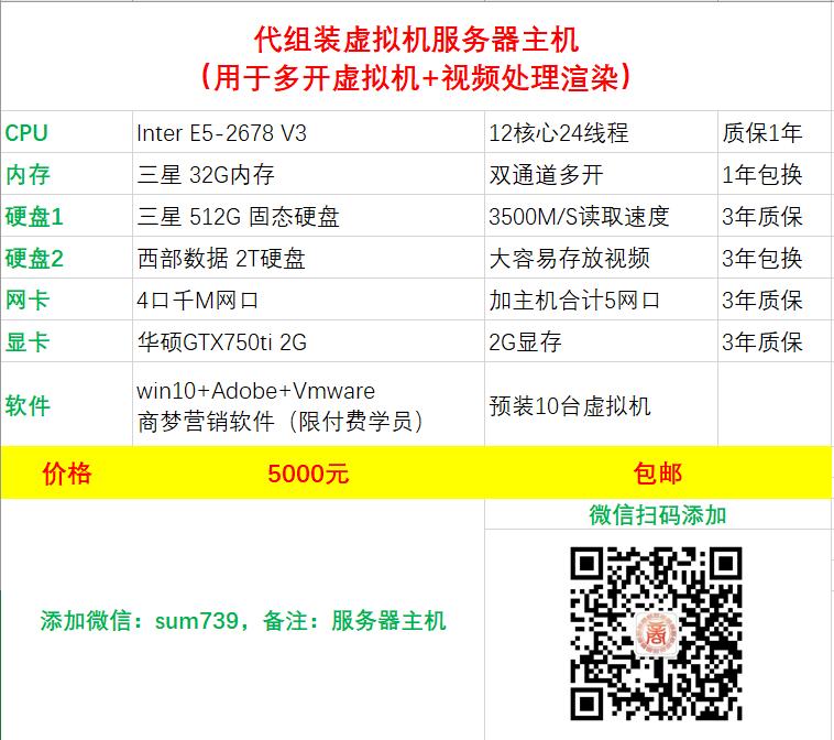 5000元12核32G主机